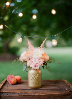 #gold mason jars and pretty peaches | Photography by rutheileenphotography.com, Floral and Design by https://www.facebook.com/sweetanniefloral  Read more - http://www.stylemepretty.com/2011/11/16/inn-at-rancho-santa-fe-wedding-by-red-ribbon-studio/
