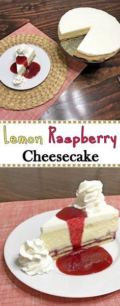 Homemade version of The Cheesecake Factory's Lemon Raspberry Cream Cheesecake.