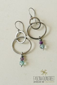 Fascinationstreet B-handmade: Chain - orecchini in argento 925, ametista e fluorite / sterling silver earrings, amethyst and fluorite