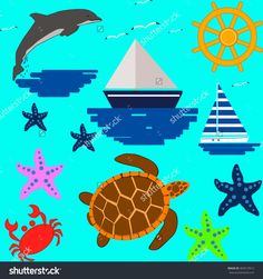 Vector seamless pattern with sea elements: lighthouses, ships, anchors. Can be used for wallpapers, web page backgrounds.