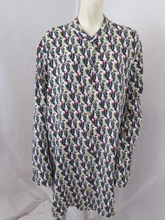Flax Size S Green Deco Cover-Up 2004 Rayon Thinking Tropics Tunic Top #Flax #Tunic #Casual