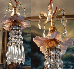 1of5 Porcelain Pink Hibiscus rose Brass chandelier Swag vintage lamp crystal