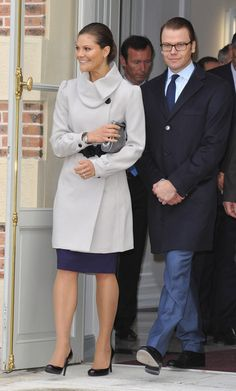 Crown Princess Victoria of Sweden (L) and Prince Daniel of Sweden (R) arrive to attend a visit at Chateau La Grange on September 27, 2010 in Savigny-le-Temple, France.