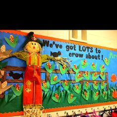 We_Are_Teachers_Fall_Bulletin_Board_Scarecrow Looking for inspiration for fall bulletin boards or classroom doors? Try one of these fall themes or Halloween bulletin board ideas. November Bulletin Boards, Halloween Bulletin Boards, Back To School Bulletin Boards, Preschool Bulletin Boards, Bulletin Board Display, Classroom Bulletin Boards, Classroom Door, Classroom Ideas, Thanksgiving Bulletin Boards