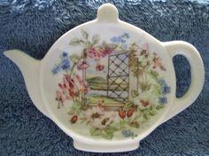british teapot teabag holder | Adorable Scenic Teapot Teabag Holder for Mosaic Tile Project