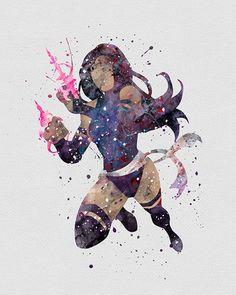 Psylocke Elizabeth Braddock Watercolor Art - VIVIDEDITIONS