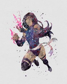 Psylocke Elizabeth Braddock Watercolor Art - VIVIDEDITIONS