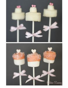 Fun Bridal Shower Idea. big and little marshmallows covered on choc and stacked to look like wedding cake