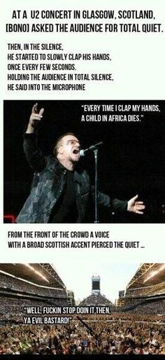Funny pictures about Bono Is Silenced. Oh, and cool pics about Bono Is Silenced. Also, Bono Is Silenced photos. Funny Cute, The Funny, Funny Memes, Funny Stuff, Daily Funny, Funny Pranks, Super Funny, Can't Stop Laughing, Jokes