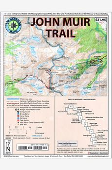 John Muir Trail Map-Pack: Shaded Relief Topo Maps (Tom Harrison Maps) - Products Lists of Tools and Hardware Thru Hiking, Camping And Hiking, Hiking Trails, Hiking Maps, Backpacking Tips, Pacific Crest Trail, Pacific Coast, Pacific Northwest, Tuolumne Meadows