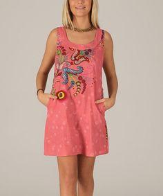 Another great find on #zulily! Pink & Blue Paisley Sleeveless Shift Dress #zulilyfinds
