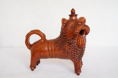 Vintage Whiskey decanter Wine vessel flask pitcher Lion figurine Gift for him Barware Brown pottery jug by Retronom on Etsy