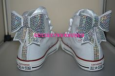 Custom Crystal Diamante Bling Hi White Converse UK 10 11 12 13 1 2 Junior Youth in Clothes, Shoes & Accessories, Kids' Clothes, Shoes & Accs., Girls' Shoes | eBay