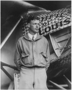 "A photo of Charles Lindbergh standing in front of his plane ""Spirit of St. Louis."" Credit: Library of Congress. Read more on the GenealogyBank blog: ""21 May 1927: Charles Lindbergh's Daring Solo Plane Flight."" http://blog.genealogybank.com/21-may-1927-charles-lindberghs-daring-solo-plane-flight.html"