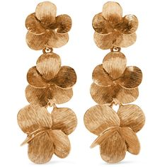 Oscar de la Renta Gold-plated clip earrings (5.816.255 IDR) ❤ liked on Polyvore featuring jewelry, earrings, accessories, floral jewellery, gold plated jewelry, oscar de la renta jewelry, earring jewelry and oscar de la renta