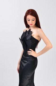 Black Satin Florina 3 Trumpet Embellished Dress by LauraGalic @ Etsy $250Gorgeous