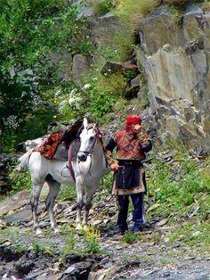 A Khevsur with horse, Georgia
