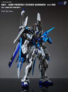 GUNDAM GUY: MG 1/100 GAT X-105 Perfect Strike Gundam Ver. RM [Ver. ANA Sky Project Titanium Finish] - Custom Build