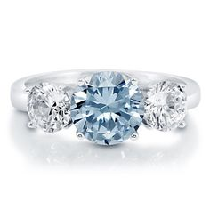 Enter #BerriclePinToWin for $500 in prizes! Enter page >> https://www.berricle.com/giveaway Round Cut Aquamarine Cubic Zirconia CZ Sterling Silver 3 Stone Ring