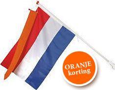 Nederlandse vlag + kunststof stokhouder + houten vlaggenstok (wimpel niet noodzakelijk)