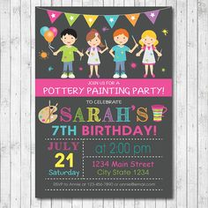 Painting Pottery  Birthday Party Invitation Card - Digital Printable File