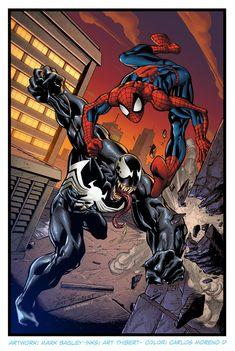 Spiderman vs Venom by CarlosMorenoD-Art on DeviantArt Marvel Fan Art, Marvel Comics Art, Marvel Heroes, Marvel Characters, Spiderman Pictures, Spiderman Art, Amazing Spiderman, Venom Comics, Marvel Venom
