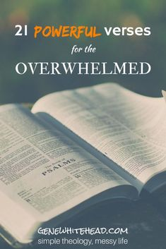 bible on outdoor table open to book of psalms 21 powerful verses for the overwhelmed