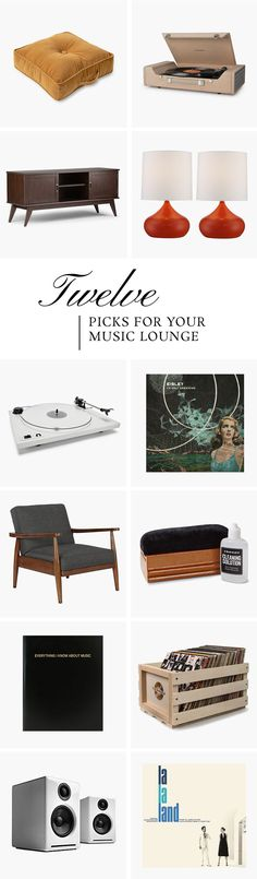 Everything you need for your mid-century music lounge, including speakers, turntables, storage, and vinyls, too!