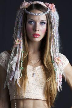 www.etsy.com/shop/lotuscircle lotuscircle, headdress, headdresses, wig, headpiece, dreads, faery, faerie, woodland, forest dweller, goddess, gypsy, fantasy, pastel hair, design, handmade, fairyhair, makeup, fashion, design, burningman