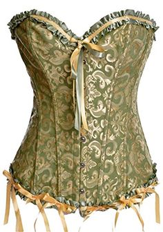 cf27ce1ed2b SODAO Womens Corset Plus Size Waist Training Bustiers Wedding Corsets 899  4XL Green