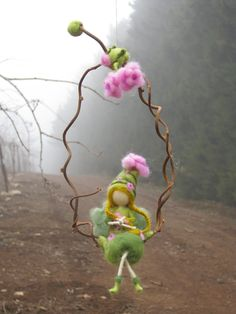 Needle felted fairy sitting on a twig waldorf by Made4uByMagic
