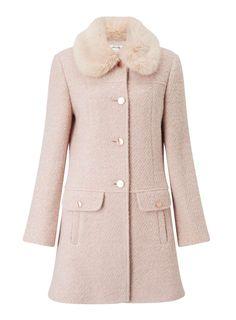 Miss Selfridge - Blush Faux Fur Collar Coat