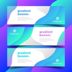 Modern Business Banners with gradients shapes Free Vector Company Banner, Trade Show Design, Banner Design Inspiration, Memphis, Banner Printing, Web Banner, Grafik Design, Design Reference, Layout Design