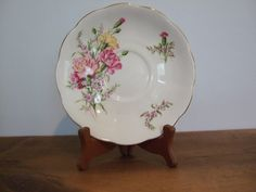 Vintage Queen Anne Saucer with Pink Carnations by jessamyjay on Etsy