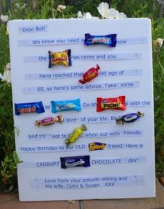 Make a candy bar card for your special occasion. I'll show you how I made one for a friend's 60th and show you a few other examples to inspire you.