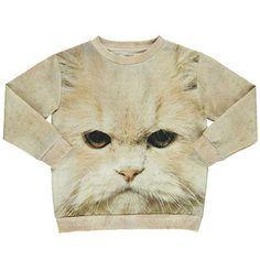 White Cat Loose Sweatshirt by Popupshop - Junior Edition  - 1