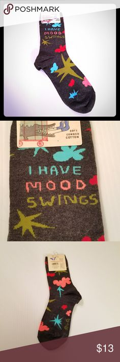 NWT! Blue Q Mood Swings Crew Socks PRICE FIRM Blue Q I Have Mood Swings Crew Socks Fits size 5-10 New! Price Firm unless bundled! blue q Accessories Hosiery & Socks