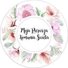 """Opłatek na tort z kolekcji LiMarte z napisem """"Moja Pierwsza Komunia Święta"""". Okrągły waflowy opłatek na tort zdobi uroczy, wianek kwiatów w odcieniach pastelowego różu oraz delikatnego fioletu. Pomiędzy kwiatkami przeplatają się zielone listki nadające niesamowitego uroku. Na środku umieszczono napis """"Moja Pierwsza Komunia Święta"""". #tortkomunijny #oplateknatort #komuniaswieta First Communion Favors, Communion Cakes, Candy Bar Labels, Freebies, Flower Clipart, Digital Form, Personalized Favors, Digital Stamps, Favor Tags"""