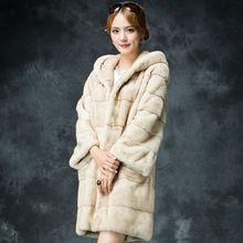 Envío gratis 2015 nueva Phoenix invierno mujeres con capucha de piel de marta de lujo abrigo chaqueta genuina piel de visón ruso abrigos de piel(China (Mainland))