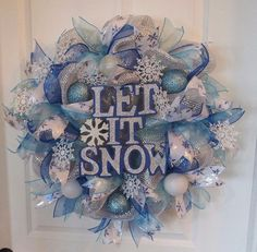 Blue Silver Deco Mesh Winter Let It Snow Wreath by RibbonNwreaths