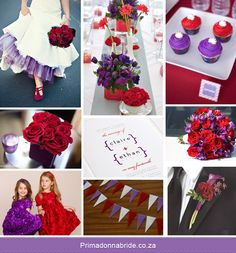 A different color scheme... here's a red and purple wedding that looks so classy