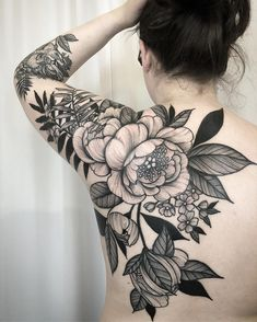 Peonies, tattoo by Kyle Stacher