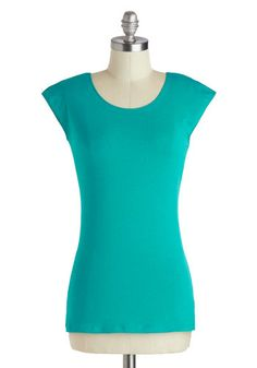 Tanks Very Much Top in Teal, would be perfect with the tiki necklace or with the artsy jeans (or polka dot skirt) and the plain black shoes