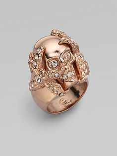 Alexander McQueen Swarovski Crystal Accented Skull Barnacle Ring