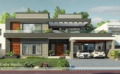 Risultati immagini per modern house front elevation designs Pool House Designs, Bungalow House Design, Design Your Dream House, Modern House Design, Duplex House, Flat Roof House, Facade House, House Front, Front Elevation Designs