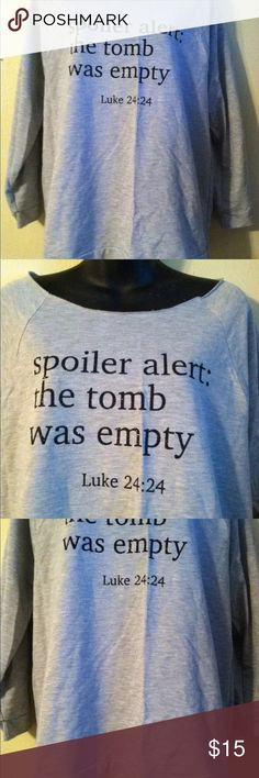 """Next level spoiler alert like 24:24 gray SZ xl This is a very cute top by next level! It is heather gray and has beautiful black sparkly lettering on the front. It is size XL and measures bust44"""" waist 44"""" total length 26 1/2"""".   D Next Level Apparel Tops Blouses"""