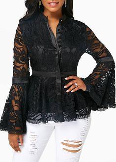 6cbd3a53d3a Black Button Front Flare Sleeve Lace Blouse