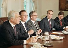 How a Fiscal Impasse, in 1990, Was Broken - From left, House Speaker Thomas S. Foley; President George Bush; the Senate majority leader, George J. Mitchell; and Senator Bob Dole at a budget meeting in 1990.