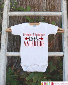 Kids Valentines Day Outfit - Grandma & Grandpa's Valentine Onepiece - Novelty Valentine Shirt for Baby Girls - Grandparents Valentine Outfit