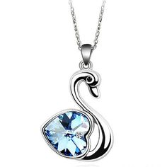 Available on our store on sale now!: Swarovski Crystal... See it here http://www.gunisack.com/products/swarovski-crystal-elements-white-gold-plated-blue-swan-pendant?utm_campaign=social_autopilot&utm_source=pin&utm_medium=pin